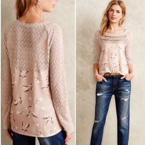 Anthropologie One September Aves Lace Pullover